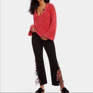 NWT Free People Bell Sleeve Knit Pullover Sz Large
